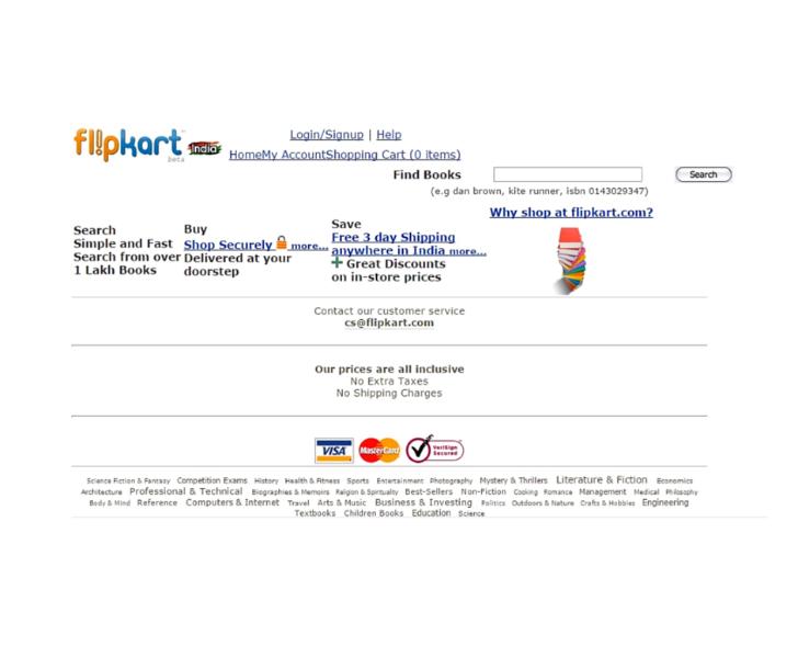 Flipkart website circa 2008 first customer