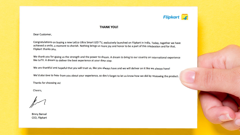 Letter from Flipkart CEO Binny Bansal