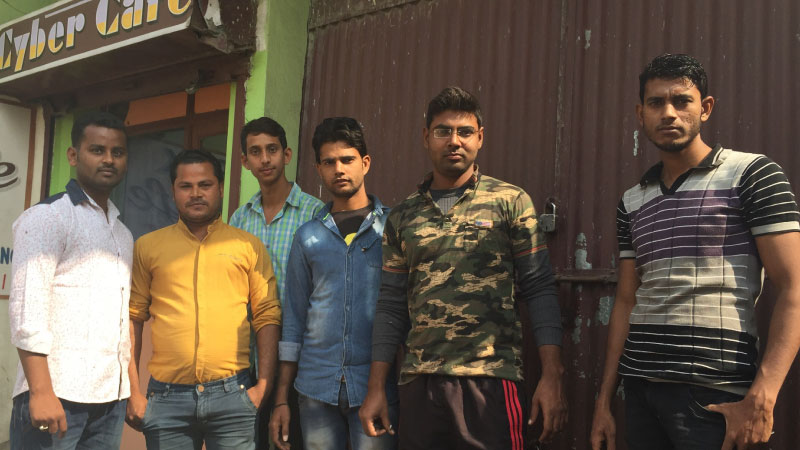 Wasseypur residents Fuzan (far left) and his friends